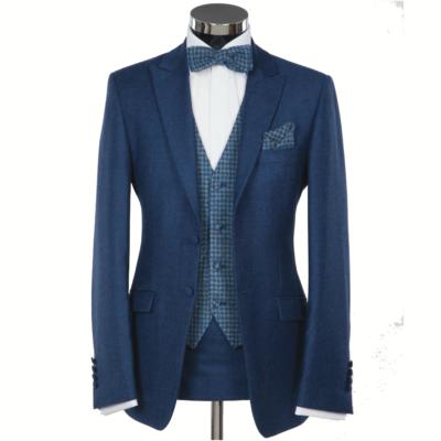 Blue Tweed 3 Piece Suit