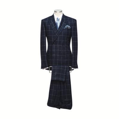 Midnight Blue Windowpane Check Suit