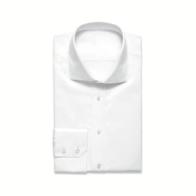 White Spread Collar Shirt Single Cuff